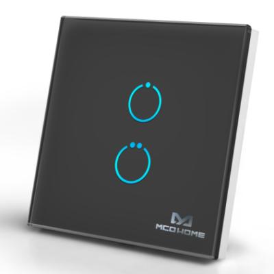 MCO Home Touch Panel fali kapcsoló 2 érintőgombbal (fekete)